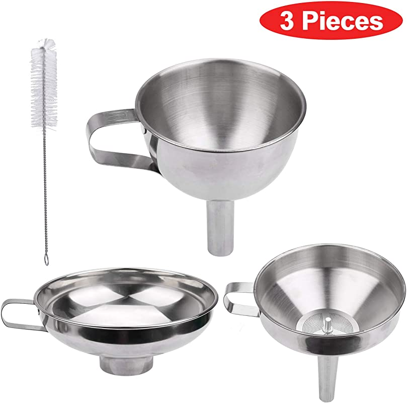 Kitchen Funnel Set 3 Pieces Food Grade Stainless Steel Funnel 1 Strainer 1 Cleaning Brush For Transferring Liquid Powder Juices Spices Olive Oil Hot Liquids And Dry Ingredients