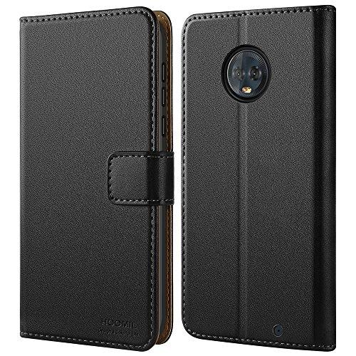 HOOMIL Handyhülle für Motorola Moto G6 Plus Hülle, Premium PU Leder Flip Schutzhülle für Motorola Moto G6 Plus Tasche, Schwarz
