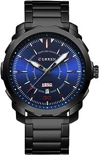 CURREN Men's Watch Stainless Steel Watchband Wristwatches Waterproof Quartz Watches with Calendar for Men 8266 (Black-Blue)