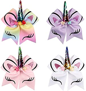 Oaoleer 8 inch Unicorn Cheer Bows for Cheerleader Girls Rainbow Hair Ponytail Tie with Elastic Band Pack of 4 (4pcs A_Unicorn Cheer Bows)