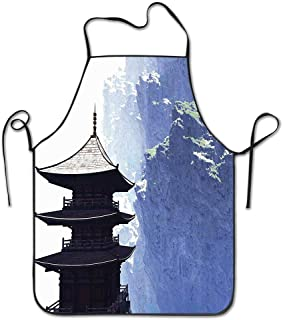 PoppyAnthony Zen Yoga Temple with Japanese Mountain Landscape Asian Winter View Photo Cooking Apron Personalized Chef Apron for Women Men Kitchen Bib Apron