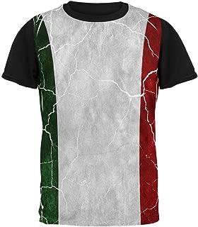 Distressed Italian Flag All Over Mens Black Back T Shirt