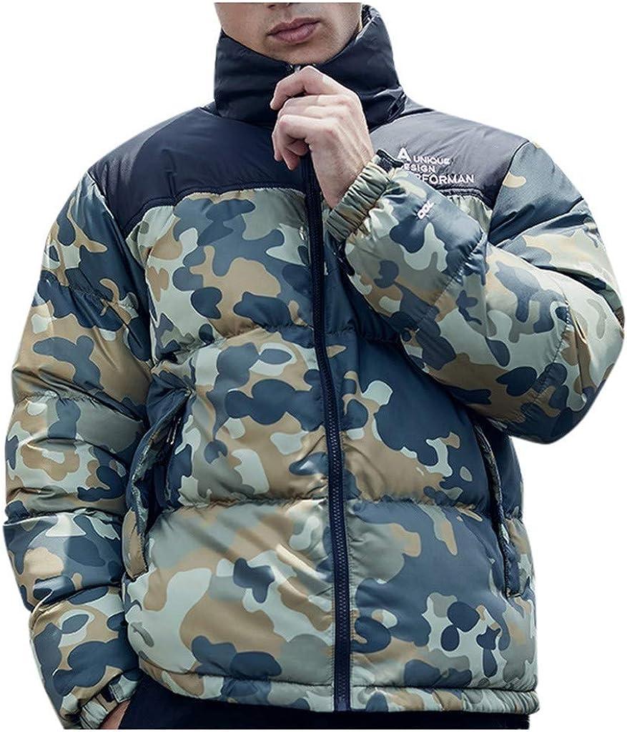 MODOQO Men's Zipper Jacket Puffer Down Coat Long Sleeve Lightweight Warm Soft Winter Outwear