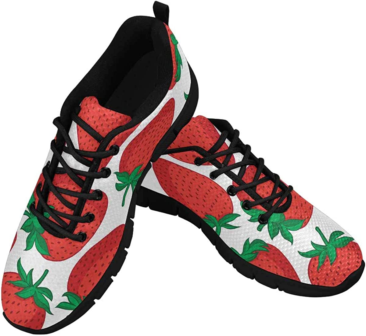 InterestPrint Red Strawberries Lightweight Mesh Breathable Sneakers for Women