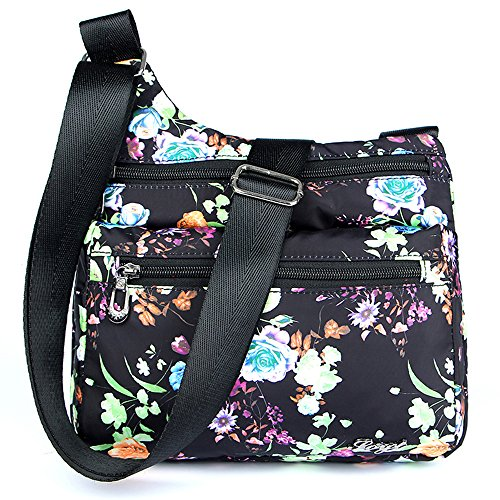 STUOYE Nylon Multi-Pocket Crossbody Purse Bags for Women Travel Shoulder Bag (Peony Flower)