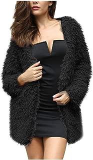 QIQIU Womens Faux Fur Warm Loose Open Front Solid Coat Cardigan Fashion Winter Jacket Plus Size Outerwear
