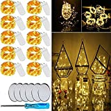 Chipark LED Fairy Light String, 10 Pack Micro 20 LED Battery Operated Silver Wire String Lights Waterproof Firefly Starry Lights for Centerpiece Wedding Party Decoration(6 Free Batteries, Warm White)