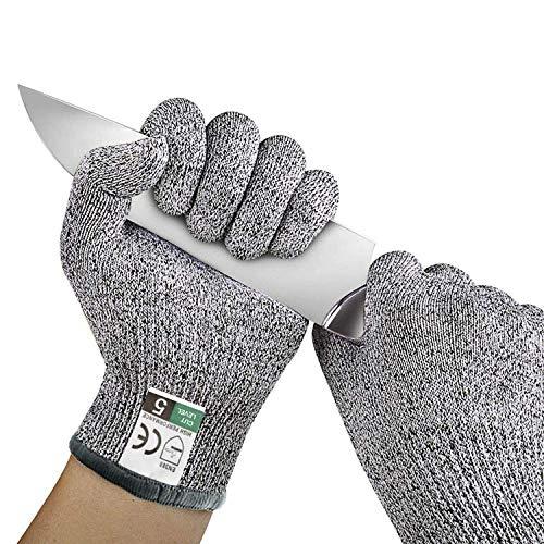 Herefun 1 Paar Schnittsichere Handschuhe für Kinder Schnittschutzhandschuhe Lebensmittelecht Level 5 Schutz Hochwertig und Atmungsaktiv Anti-Schnitt-Handschuh - Größe : 4-8 Jährige