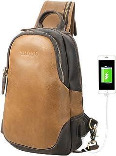 Tiding Leather Sling Bag for Men Vintage Crossbody Shoulder Backpack Chest Pack Bag Casual Daypack with USB Charging Port - Brown