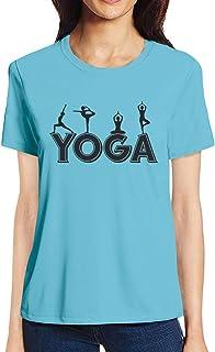 Pooplu Womens Yoga Moves Cotton Printed Round Neck Half Sleeves Multicolour Tshirt. Exercise & Gym t Shirt