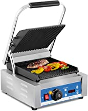 Royal Catering RCKG-2200-GY Contactgrill Geribbeld Geïntegreerde Thermostaat 1800W 55-300 °C Professionele Grill voor in d...