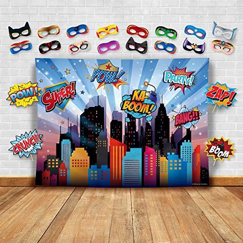 Wonder Woman y Otros Superhéroes Paisaje Urbano Fotografía Fondo, Accesorios de Estudio y Máscara. Ideal como Fondo de Cabina de Fotos de la Ciudad - Niña Cumpleaños Fiesta y Decoración de Eventos