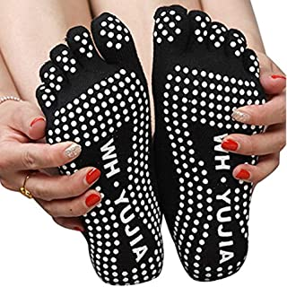 Isuper Antideslizante Calcetines de la Yoga de algodón de Cinco del Dedo del pie Antideslizante Calcetines de dispensación para la Mujer Negro