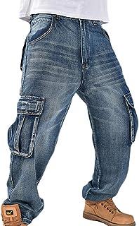 Uomo Hip Hop Cargo Pantaloni Multi Tasche Gamba Larga Jeans Baggy Pantalone da Lavoro Military Viaggio Sport Pantalone con...