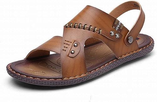 Fuxitoggo Mode Handgemachte Sandalen Komfort All-Match-Hausschuhe Slip ZWeißTragen Herren Sandalen (Farbe   Khaki, Größe   41)