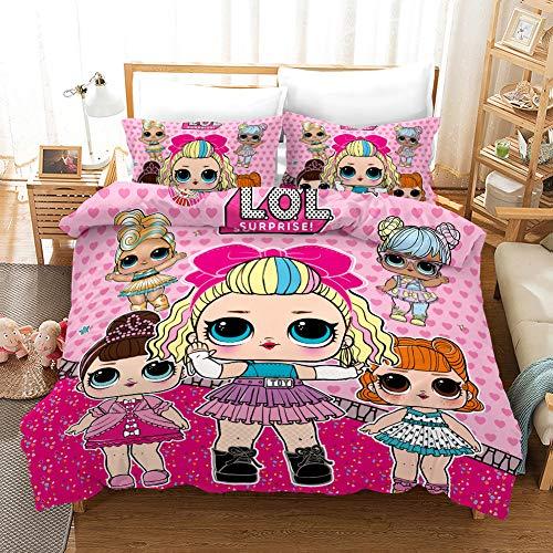 LOL Girls - Juego de ropa de cama infantil 100% microfibra, LOL sorpresa para muñecas (A-03,220 x 240 cm (50 x 75 cm)