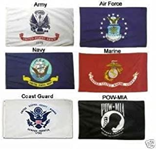 2X3 Military 5 Branches Army, Navy, Marines, Air Force, Coast Guard & Pow Mia DOUBLE SIDED Polyester Flag Set 2'x3' Banner with Grommets