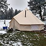 BuoQua Bell Tent Canvas Tent with Stove Hole Cotton Canvas Tents Yurt Tent for Camping 4-Season Waterproof Bell Tent for Family Camping Outdoor Hunting 7