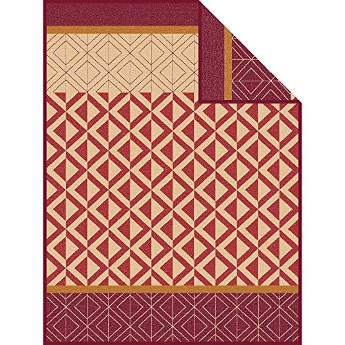 Ibena Wolldecke Kaschan 1652 / Tagesdecke braun/Camel/Kuscheldecke 150x200 cm aus toller Baumwollmischung/Besonders angenehm warm & weich zur Haut