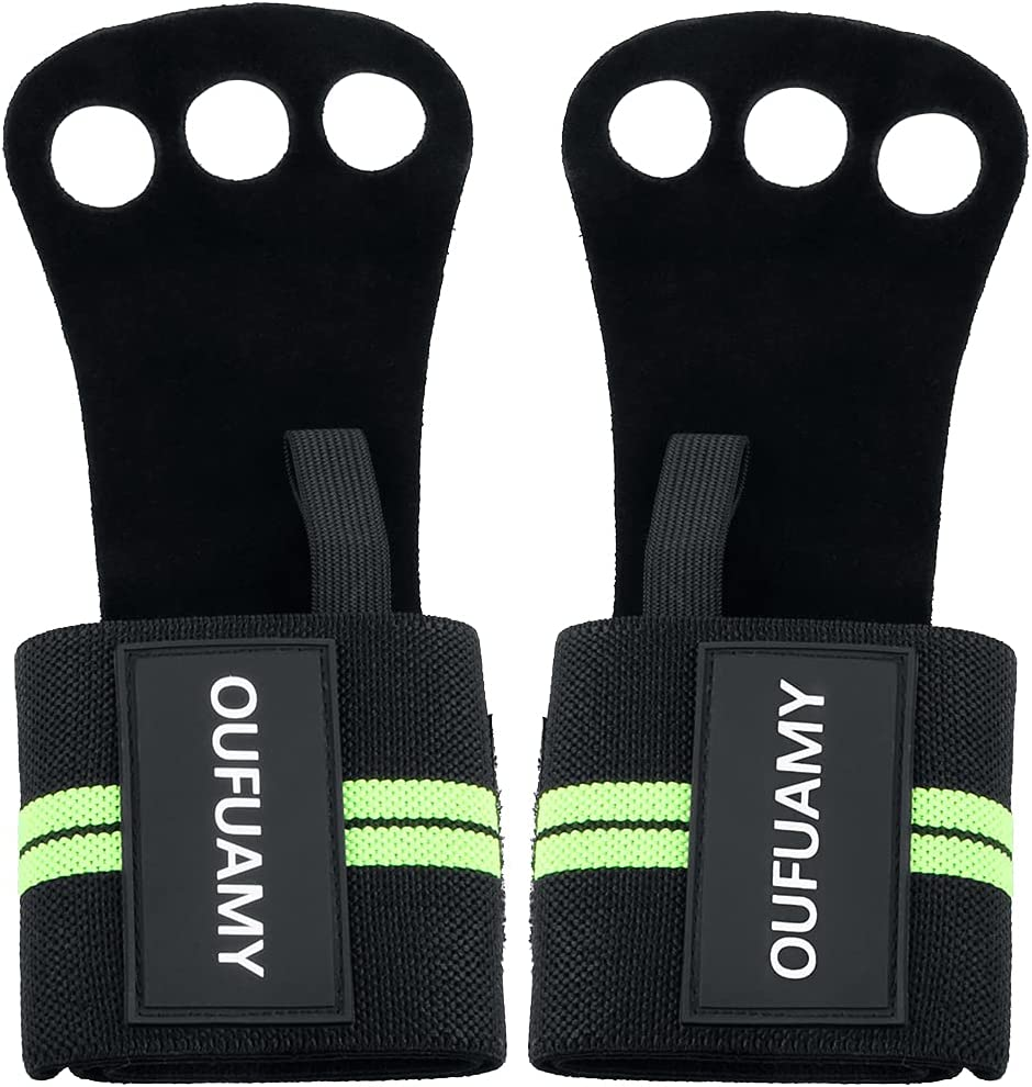 OUFUAMY 3 Holes Gymnastics Hand Grips Cowhide 2 Leather Wri 40% OFF Max 66% OFF Cheap Sale with