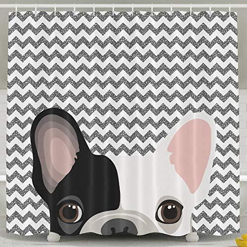 AshasdS Cute French Bulldog Print Bath Shower Curtain Bathroom Curtain Set with Hooks 72 x 72 in