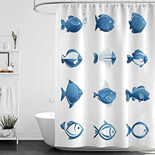 homecoco Shower Curtains Fabric Teal Fish,Array of Fish Silhouettes Marine Life Sea Ocean Related Images Pattern Fish Bones,Blue White W60 x L72,Shower Curtain for Kids