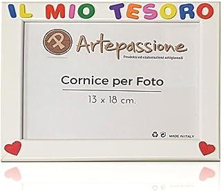Cornici per foto in legno con la scritta Il Mio Tesoro e decorate con cuoricini, da appoggiare o appendere, misura 13x18 c...
