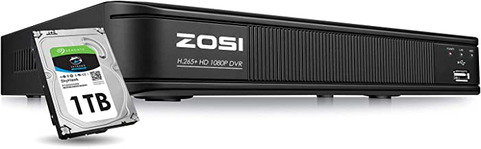 ZOSI H.265+ 1080p Security DVR 8 Channel with Hard Drive 1TB, Hybrid Capability 4-in-1(Analog/AHD/TVI/CVI) CCTV DVR Reorder for Home Surveillance Cameras,Remote Access, Motion Detection, Alert Push