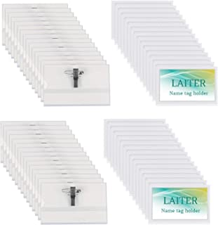 LAITER 60 Pcs Porte Badge Plastique avec Epingle et Clip Badges Personnalisables Transparents en PVC avec Pinces Porte-Nom...