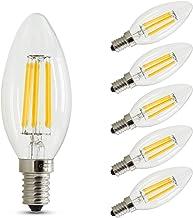 E14 Vintage LED Filament Candle Light Bulbs 6W 50W Equivalent Warm White 2700K C35 for Retro Old Chandelier Pendants Lamp,...