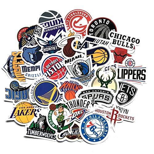 BUCUO Logotipo del Equipo de Baloncesto, Pegatina Deportiva de PVC, Impermeable, Reutilizable, calcomanía de Anime, Juguete Favorito para niño, Regalo, Cuaderno de Coche, Doodle 30 Uds