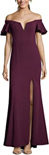 Womens Gown Plum Crepe Off The Shoulder Front-Slit Purple 6