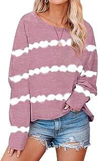 GUOCAI Women Plus Size Loose O Neck Stripe Tie Dye Long Sleeve T Shirts