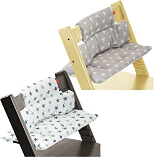 Stokke Tripp Trapp High Chair Cushion Set - Grey Star & Aqua Star