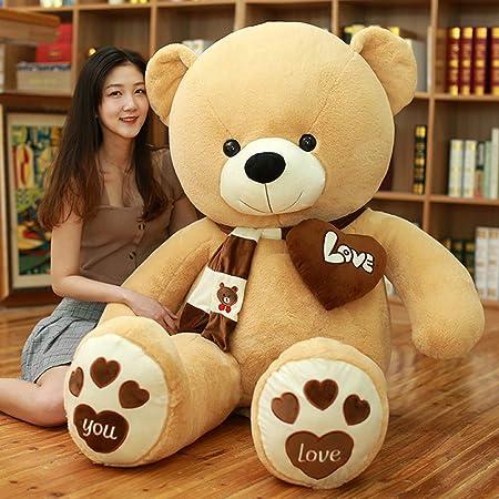 AMIRA TOYS ぬいぐるみ 特大 くま 可愛い熊 動物 大きい くまぬいぐるみ 抱き枕 お祝い ふわふわ (ライトブラウン, 120cm)