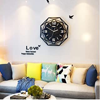 Huanxidp Geometric Silent Large Acrylic 3D Wall Clocks Digital Modern Style Black Quartz Hanging Watch with Wall Stickers ...