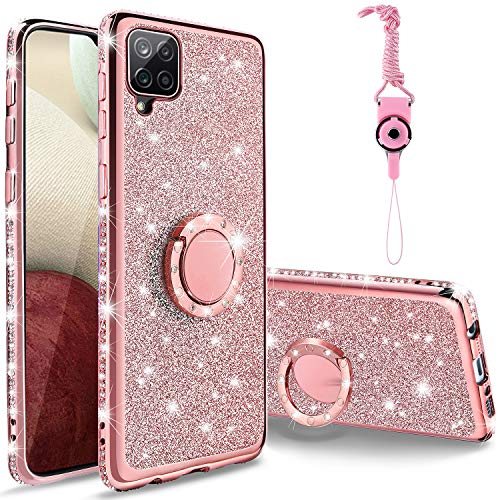 AKRIL for Samsung Galaxy A12 Diamond Case, Cute Bling Glitter Rhinestone Crystal Shiny Sparkle Protective Cover with Electroplate Plating Luxury Fashion Case for Galaxy A12 (Rose Gold)