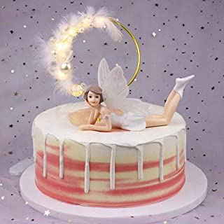 Fairy Themed Birthday Cake Topper Large Cake Fairies Princess Figurine Clearance with Wings for Girls Wedding Engagement Room Car Ornament Christmas Gifts Party Decor Supplies
