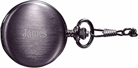 Personalized Visol Quincy Brushed Gunmetal Mechanical Pocket Watch with Free Engraving