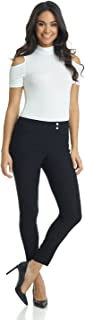REKUCCI Women's Ease in to Comfort Slim Ankle Pant with Snaps 8 Black