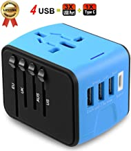 Universal Travel Adapter JMFONE Type C 4 USB International Power Plug Converter Wall Charger for UK European EU AU US for 200 Countries (blue)