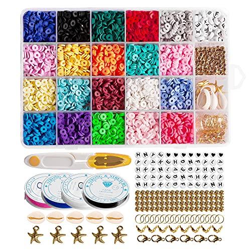 4000 perlas de arcilla Heishi, 6 mm, 20 colores, planas, redondas, de polímero, con colgante, kit de colgantes y 4 rollos de cuerdas elásticas para fabricación de joyas, pulseras, collares