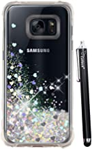 Galaxy S7 Glitter Case, S7 Case, Cattech Liquid Bling Sparkle Shiny Moving Quicksand - Slim Clear TPU Bumper Protective Non-slip Grip Shockproof Cover for Samsung Galaxy S7 + Stylus (Silver)