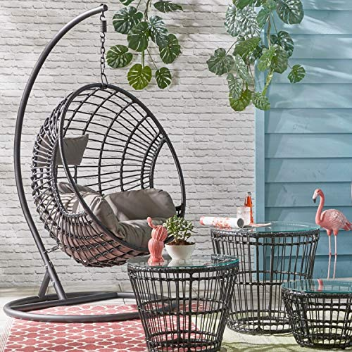 Dawsons Living Milan Hanging Egg Chair - Outdoor and Indoor Rattan Weave Swing Hammock - Hanging Stand and Floor Stand -...