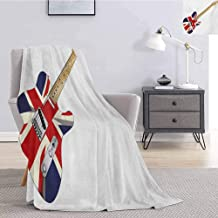 Luoiaax Union Jack Flannel Fleece Throw Blanket Classical Electric Guitar UK Flag Great Britain Music Instrument Fluffy Decorative Blanket for Couch W51 x L60 Inch Pale Brown Silver Black