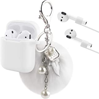 Airpods Case, KMMIN Airpods Accessories for Apple AirPods 1&2 Charging Case Premium Silicone Case Cover and Skin with Airpods Ear Hook Grips/Anti-Lost Cute Fluffy Pompom Keychain - White