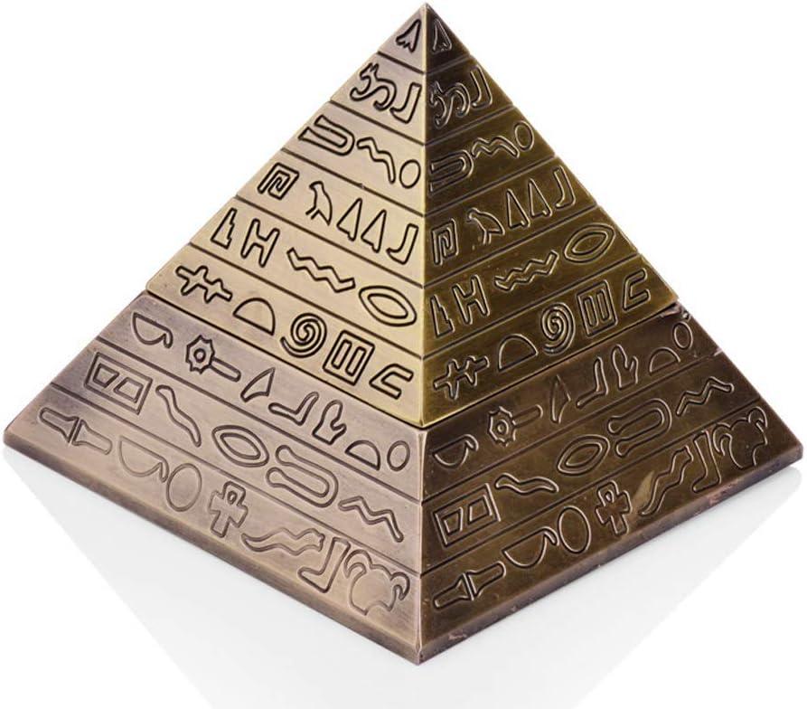 ZHUANGGQSHOP Cenicero de la pirámide Creativa Europea Retro diseño de la Cubierta del Grabado al Aire Libre, 12.8 * 11.5 * 6.5 cm (Color: pátina de Plata, pátina Verde, pátina roja) (Color : Bronce)