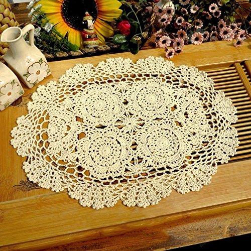 Yazi Sottobicchieri/tovagliette/centrini ovali, realizzati a mano all'uncinetto, ideali per decorare la cucina, colore beige, a forma di fiore, 30x 45cm
