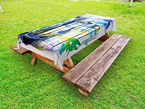 ABAKUHAUS Landschap Tafelkleed voor Buitengebruik, Boot in Venetië Italië, Decoratief Wasbaar Tafelkleed voor Picknicktafel, 58 x 120 cm, Blauw Paars Groen