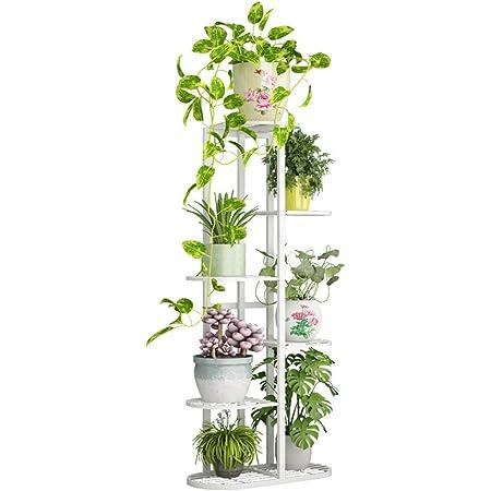 Tingberoo 6 Tier 7 Potted Metal Plant Stand - Indoor Outdoor Multiple Flower Pot Holder Shelf Plant Stander Flower Pots Holder Plant Storage Holder for Patio Garden Corner Balcony Living Room (White)